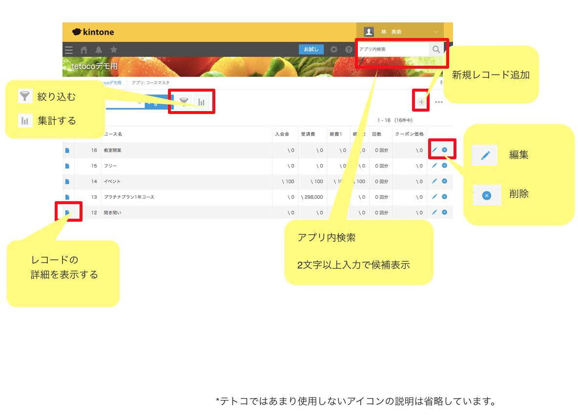 2−3 各アプリの一覧画面共通操作